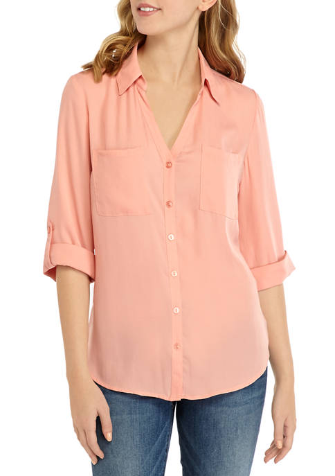 A. Byer Juniors Solid Portofino Shirt