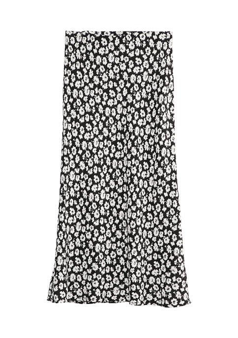A. Byer Juniors Black and White Floral Midi