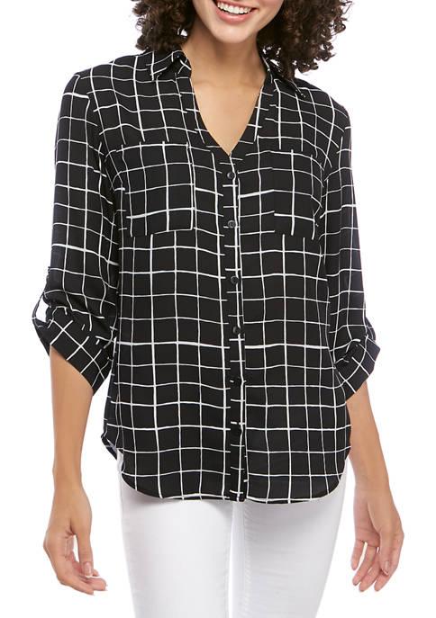 A. Byer Juniors Black Grid Button Down Shirt