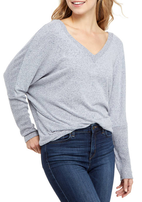 A. Byer Juniors V-Neck Marled Tunic