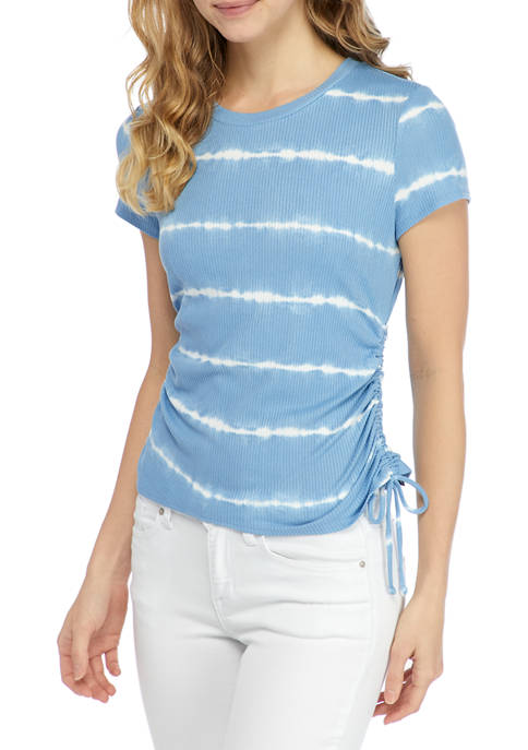 Juniors Short Sleeve Printed Side Ruched Top