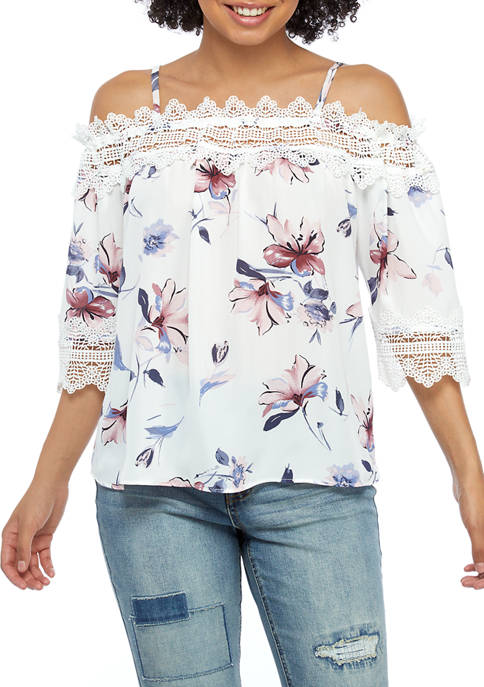 A. Byer Juniors Lace Floral Off the Shoulder