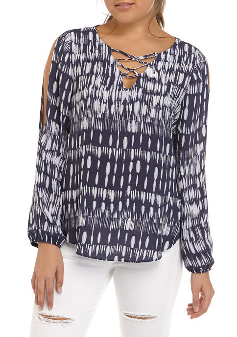A. Byer Juniors Lace Up Long Sleeve Blouse