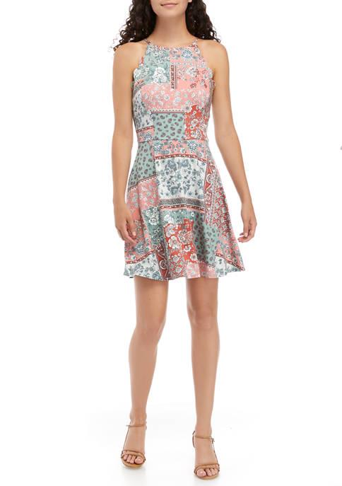 Juniors Sleeveless Mixed Patch Printed Dress
