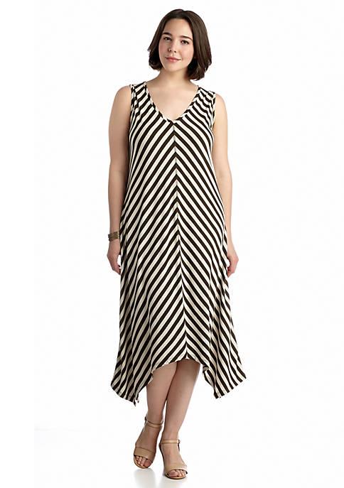 Jones New York Plus Size Striped Shark-Bite Hem Dress | belk