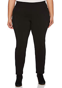 Plus Size Solid Power Stretch Pants