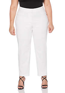 Plus Size Satin Twill Ankle Pant