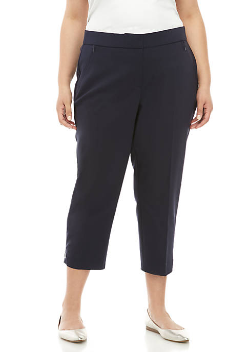 Plus Size Satin Twill Capris