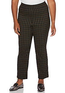 Plus Size Window Pane Skinny Ankle Pants