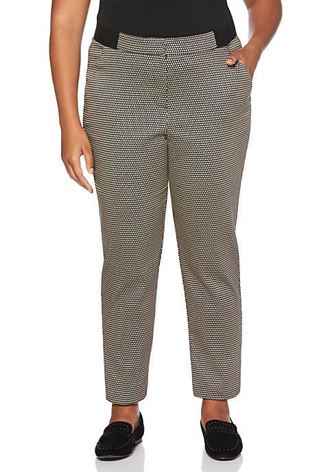Plus Size Diamond Print Sateen Skinny Pants