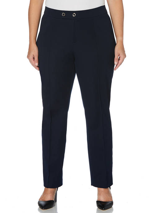 Plus Size Fly Front Double Ring Closure Pants