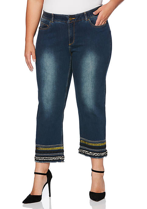 Rafaella Plus Size Hem Detailed Denim Ankle Jeans