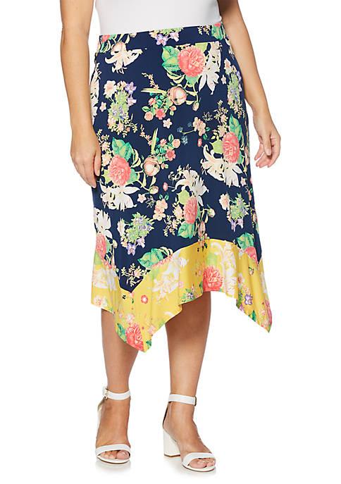 Rafaella Plus Size Printed Border Print Skirt