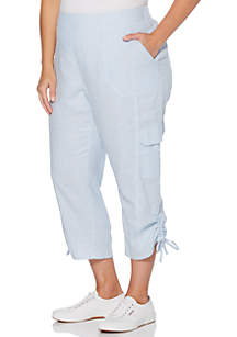 0d6e82f5d7a ... Rafaella Plus Size Linen Cotton Capri Pants
