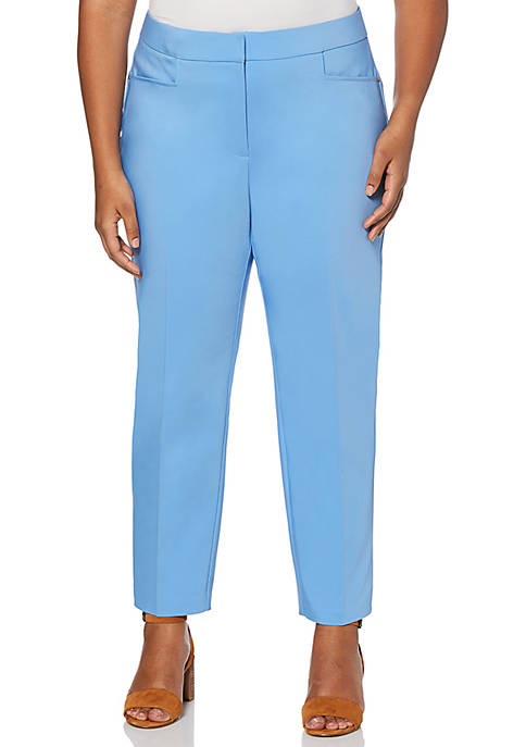Rafaella Plus Size Satin Twill Ankle Pants