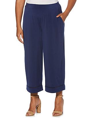 13d3c2242b1 Rafaella Plus Size ITY Solid Crop Pants ...