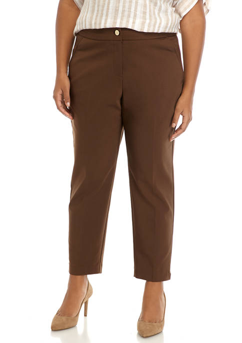 Plus Size Fly Front Ankle Pants