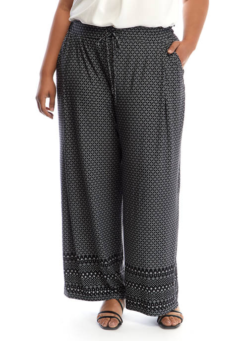 Plus Size Match Back Printed Pants