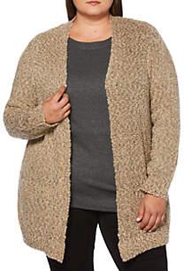 Plus Size Draped Collar Cardigan