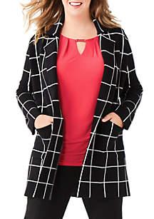 Plus Size Long Blazer Cardigan
