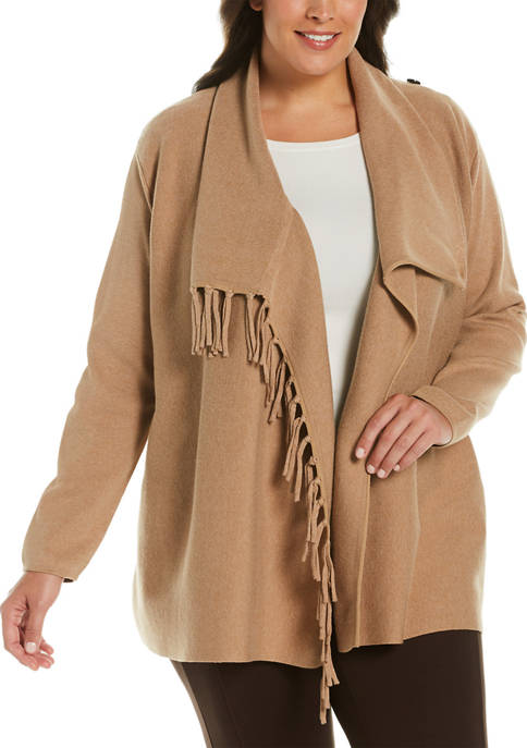 Plus Size Fringe Cardigan Sweater