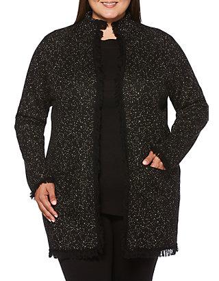 f51ed5d4c28 Rafaella Plus Size Marled Fringe Jacket
