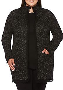 Plus Size Marled Fringe Jacket