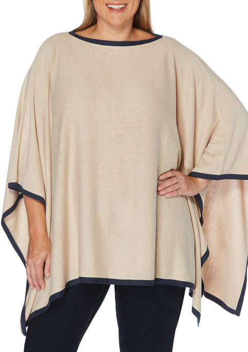 Plus Size Solid Tipped Poncho