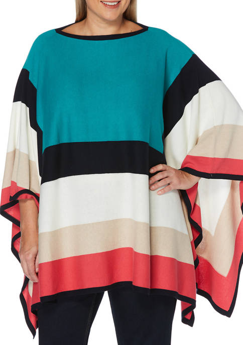 Rafaella Plus Size Color Blocked Poncho