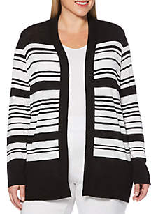Rafaella Plus Size Long Sleeve Striped Cardigan