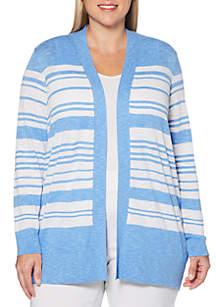 Rafaella Plus Size Long Sleeve Striped Cardigan