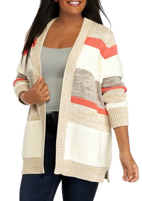 Plus Size Long Sleeve Striped Cardigan