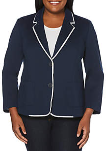 Plus Size Blazer with Tipping