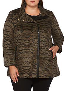 Plus Size Allover Plush Coat