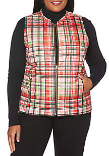 Plus Size Reversible Puffer Vest