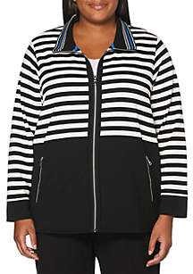 Plus Size Blocked French Terry Jacket