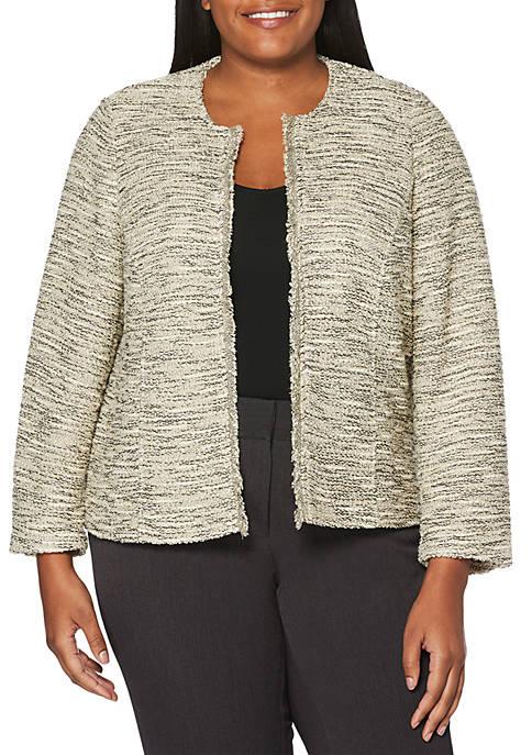 Plus Size 3/4 Sleeve Knit Tweed Jacket