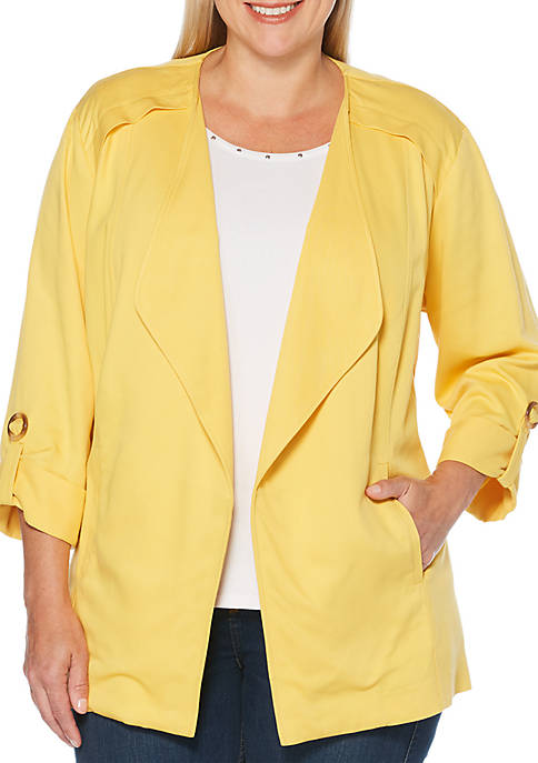 Rafaella Plus Size Roll Sleeve Blazer