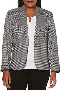 Rafaella Plus Size One-Button Gingham Blazer