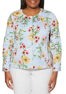 Rafaella Plus Size Floral Stripe Jacket