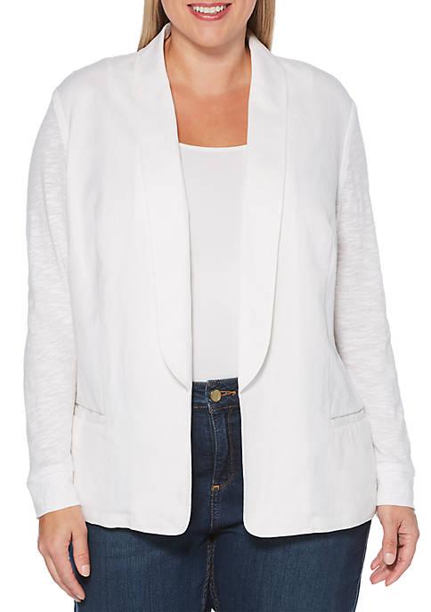 Rafaella Plus Size Linen Mix Media Blazer