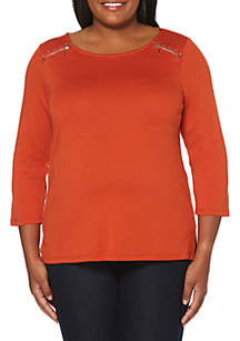 Plus Size Top with Zipper Detail