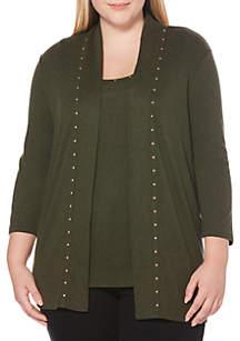 Plus Size Solid Three-Quarter Sleeve Cardigan