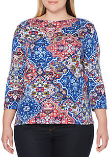 Plus Size Ornate Diamond Printed Top