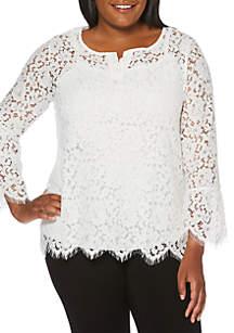 Plus Size Lace Knit Top