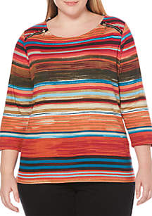 Plus Size Textured Stripe Print Top