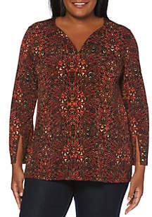 Plus Size Abstract Leaves Top