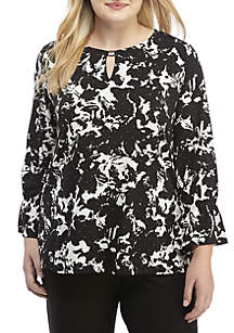 Plus Size Dual-Tone Floral Print Juliet Top