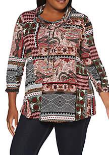 Plus Size 3/4 Sleeve Patchwork Tunic