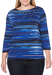 Plus Size Water Color Stripe Printed Top